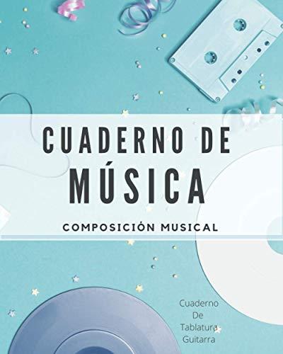 Cuaderno De Música. Composición musical: Cuaderno de Tablatura Guitarra Tamaño A4+; color: Azul (Libreta musical para escribir)