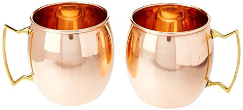 Mule Me! Copper Mugs Moscow Mule No Inner Lining Copper Mugs, Set of 2, 16 oz.