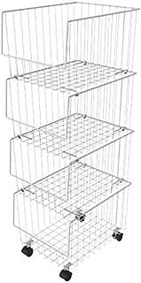 DJSMsnj Panier de rangement en métal à roulettes multicouches de cuisine pour fruits et fruits Type de plancher Organisate...