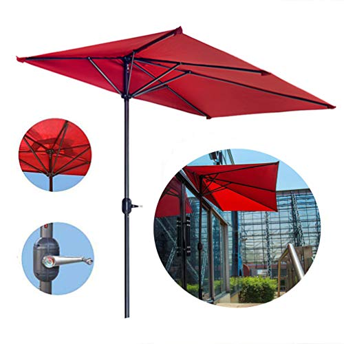 LYBC Garden Parasol Half Round Patio Umbrella Outdoor Table Market Umbrellas with Crank,Polyester Shade,UV25+ Protection,9.8ft/300cm