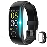 Fitness Tracker with Body Temperature Watch,Smart Watch with Blood Pressure Monitor Heart Rate Monitor Step Calorie Counter Sleep Monitor,Activity Tracker Pedometer for Kids Men Women (Black+Black)