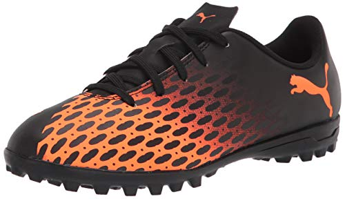 PUMA unisex child Puma Spirit Soccer Shoe, Puma Black-shocking Orange, 4.5 Big Kid US