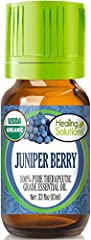 CERTIFIED USDA JUNIPER BERRY ESSENTIAL OIL - Healing Solution's Juniper Berry Essential Oil is registered on the USDA Organic Database 100% PURE JUNIPER BERRY ESSENTIAL OIL - All of our Essential Oils are routinely tested for purity and results of th...