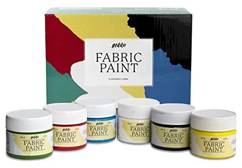 Pintura para Tela y Ropa Calidad Profesional Gekko by Nazca - 6 Colores x 100ml - Set de Pintura Textil Permanente con Gran Capacidad de Cobertura Ideal para toda clase de Tejidos, Camisetas, Bolsas