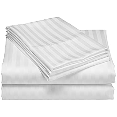 1200 Thread Count 100% Egyptian Cotton Superior Wrinkle Resistant 4PC Stripe Bed Sheet Set (Queen, Silver)