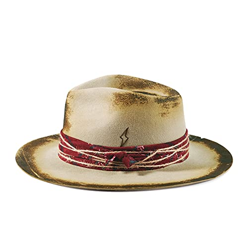 Vintage Fedora Firm Wool Felt Outback Hat Classic Rancher for Men Women Wide Brim Lining Distressed/Burned Handmade Camel