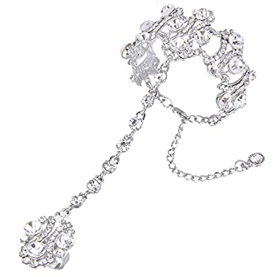 EVER FAITH Women's Clear Crystal 1920s Vintage Style Inspired Bracelet Adjustable Ring Set Silver-Tone