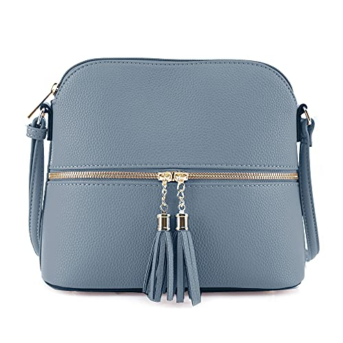 SG SUGU Lightweight Medium Dome Crossbody Bag with Tassel | Zipper Pocket...