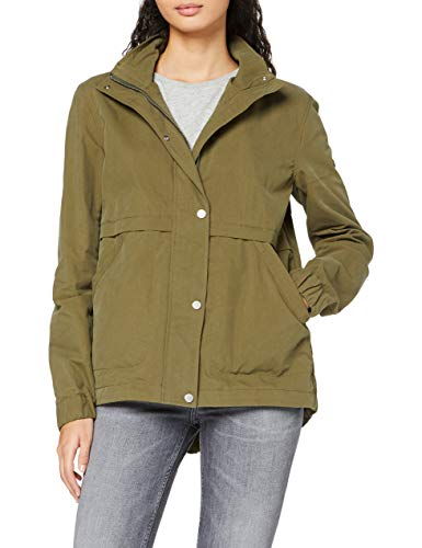 Tommy Jeans Damen Short Hooded Parka Langarm Jacke Grün (Military Olive 393) Small