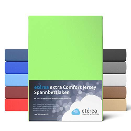 etérea Extra Jersey Spannbettlaken 240x220 cm - Spannbetttuch für Boxspringbetten, Wasserbetten und Normale Matratzen, aus 100% Baumwolle und ca. 35 cm Steghöhe, Apfelgrün