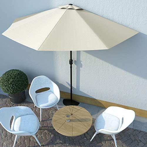 FAMIROSA Balkon-Sonnenschirm mit Alu-Mast Sandfarben 300×150 cm Halbrund