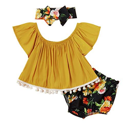 Haokaini 3 Stück Baby Kleinkind Mädchen Sommer Outfit Mode Anzug Hemd + Kurze Hose + Stirnband