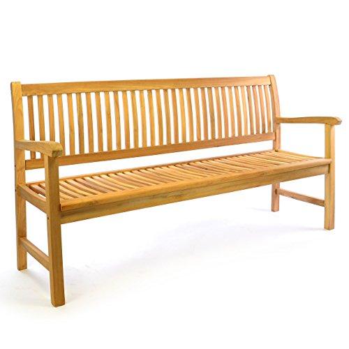 Divero 3-Sitzer Bank Holzbank Gartenbank Sitzbank 180 cm – zertifiziertes Teak-Holz Premium-Qualität unbehandelt hochwertig massiv – Reine Handarbeit – wetterfest