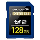 TEAMGROUP XTREEM 128GB UHS-II/U3 SDXC Memory Card U3 V60 8K UHD Read Speed up to 250MB/s for Professional Vloggers, Filmmakers, Photographers & Content Curators TXSDXC128GIIV6001