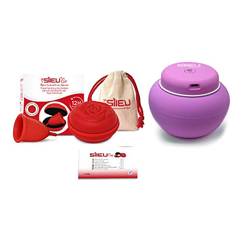 Sileu Travel Plus - Copa menstrual Sileu Rose, Talla L, Rojo, Flexibilidad Soft + Estuche en forma de flor Rojo, 8 cm + Esterilizador eléctrico recargable USB para copas menstruales, Morado