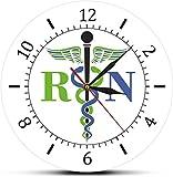 Reloj De Pared Caduceo Símbolo Médico Medicina Doctor Insignia Médica Reloj Exclusivo Enfermera Registrada Rn Regalos De Enfermería Etiqueta De La Pared Habitación Decoración Del Hogar