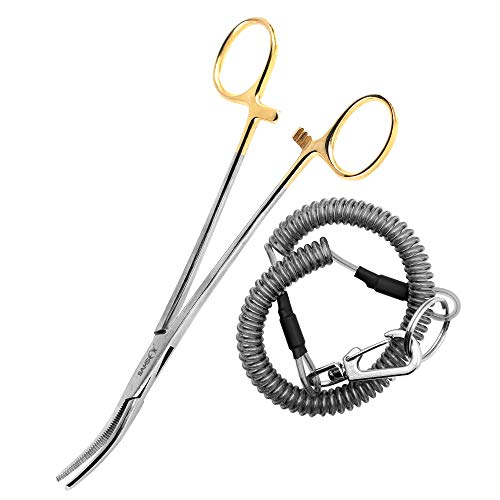 SAMSFX Fishing Curved Forceps Locking Tweezers Clamp Hemostat Pliers Gold Plated Clamp