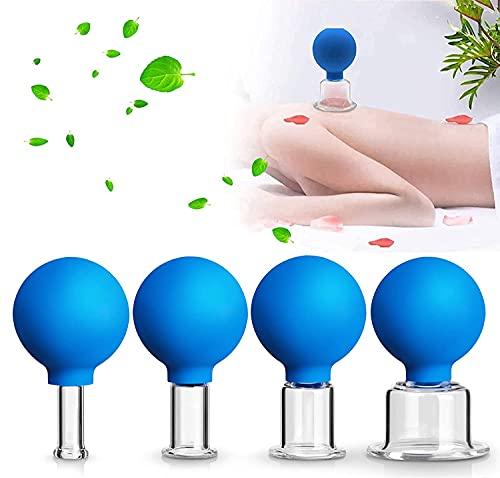 Shunfaji® Schröpfgläser mit Saugball,4er Schröpfglas-Set mit Ball, Aus Echtglas Hochwertige Medizinische Feuerlosen Schröpfen,Schröpfglas gegen Verspannungen und Cellulite