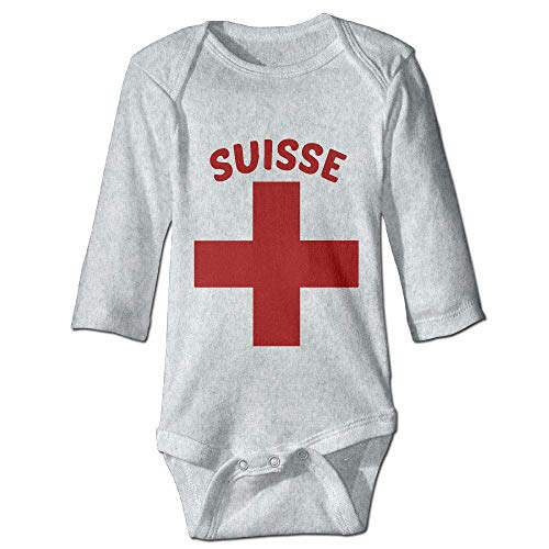 LittleHorn Swiss Pride Toddler Long Sleeve Rompers Bodysuit Baby Boys Girls Creeper Onesies Gray