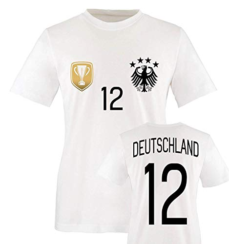 Trikot - Deluxe 2016 - Deutschland - 12 - Kinder T-Shirt - Weiss/Schwarz-Gold Gr. 110-116