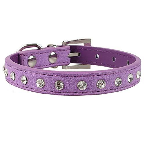 Haoyueer - Collare in pelle scamosciata, elegante, con 1 file, con strass e cristalli, per animali domestici, gatti, cuccioli, colore: viola