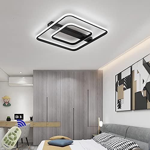 LED Lámpara de Techo 72W Moderna Cuadrada Plafon Techo Led Negro Moderno Regulable 3000K - 6500K Para Cocina Sala de Estar Dormitorio Pasillo Habitacion Comedor etc