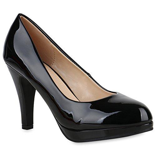 Klassische Damen Pumps Stiletto High Heels Lack Leder-Optik Schuhe 154355 Schwarz Carlton 40 Flandell