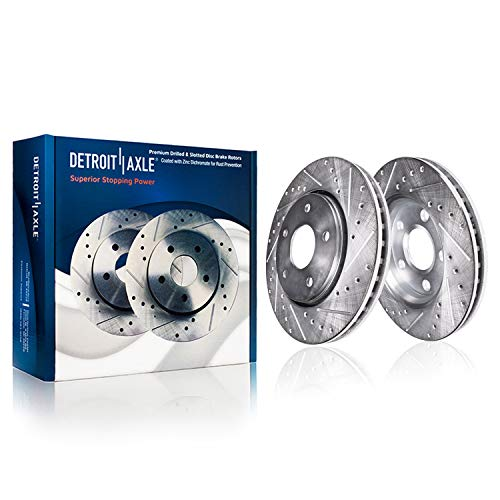 """Detroit Axle - 11.65"""" (296mm) FRONT Drilled and Slotted Brake Rotors - Performance Grade for CR-V AWD"""
