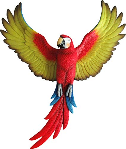 DWK - Macaw of Majesty - Beautiful Tropical Parrot with Colorful Wings Spread 3D Wall Art Sculpture for Home and Garden, 14.75-inch