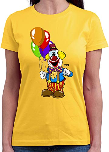 HARIZ Damen T-Shirt Rundhals Clown Luftballons Fröhlich Karneval Kostüm Inkl. Geschenk Karte Gold Gelb S