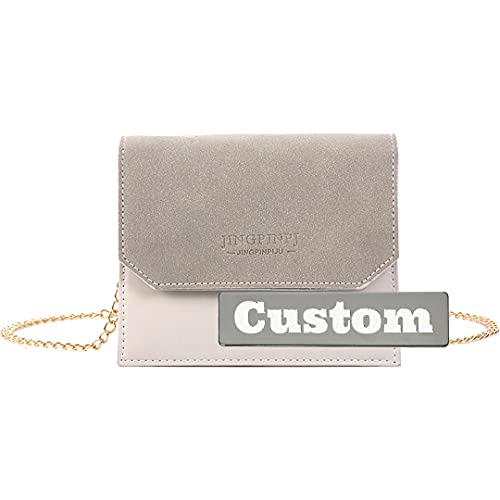 Bolso organizador personalizado con nombre personalizado para mujer, cuero y niñas, hombro ajustable (color: gris, tamaño: talla única)