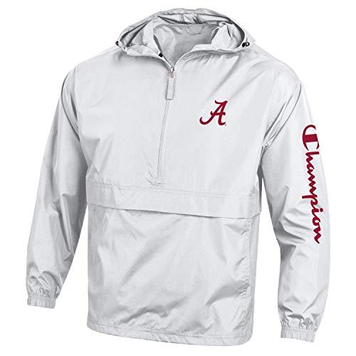 Champion NCAA Mens NCAA Men's Half Zip Packable Hooded Wind Jacket (Alabama Crimson Tide-White, Large)