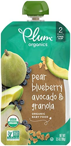 Plum Organics Stage 2 Organic Baby Food Pear Blueberry Avocado Granola 3 5 Ounce Pouch Pack product image