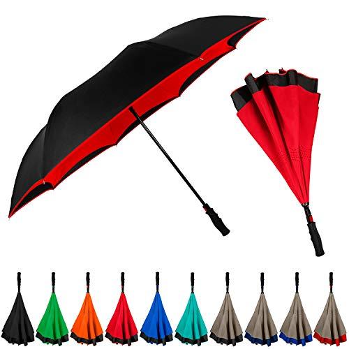StrombergBrand Inversa Umbrella (Reversible Umbrella), Double Layer Inverted Umbrella For Women and Men, Large Umbrella Windproof - Self Standing Umbrella Reverse Close Red Umbrella