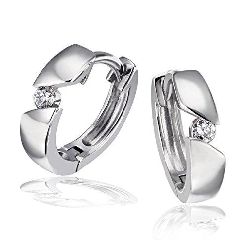 Goldmaid Damen-Creolen 925 Sterlingsilber rhodiniert Diamant (0.08 ct) Ohrring