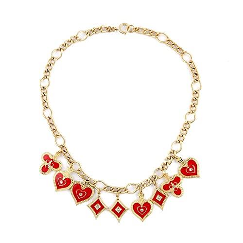 collar Fábrica Única De Collares Y Colgantes De Corazón De Esmalte Rojo Femenino