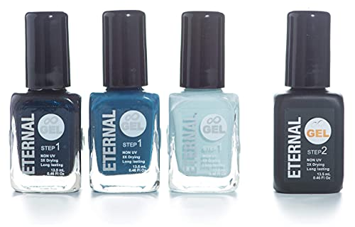 Eternal Gel Collection - Nail Polish Set of 3 Colors and 1 Gel Top Coat - Long Lasting, Mirror Shine, Quick Dry (0.46 Fluid Ounces/13.5 Milliliters Each) – Into The Blue