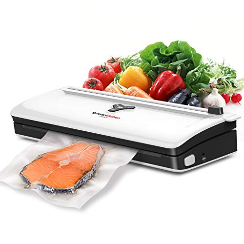 Food Saver Vacuum Sealer Machine For Food, Automatic Vaccume Sealer Machine Built in Air Sealing System with Vacuum Sealer Kits, Avoid Dehydration n Freezer Burn, Dry/Moist Model For Sous Vide-White