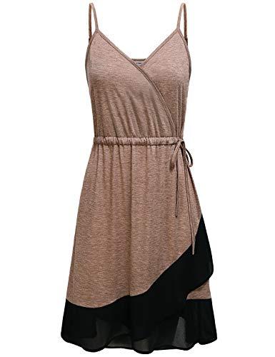 JCZHWQU Summer Dresses for Women 2019, Misses Sexy Off Shoulder Empire Waist Sundress Modest Latest Color Block Spaghetti Strap Beach Casual Skater Dress Beige XXL