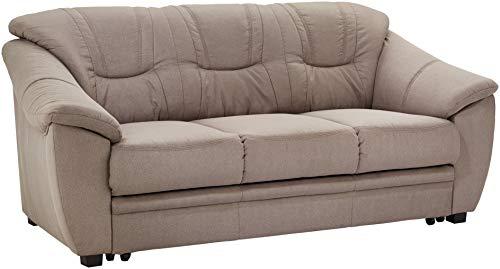 Cavadore 3-Sitzer Sofa Savana / 3er Sofa, mit Federkern im klassischen Design, 198 x 90 x 90, Mikrofaser in Lederoptik, hellgrau