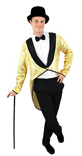 0207VP6FOSX ILOVEFANCYDRESS Homme Doré Sequins Queue-de-Pie + Chapeau Haut-de-Forme Noir Fancy Dress Ensemble d'accessoires de Danse Affiche Les Comédies Musicales Tenue Cabaret Unisexe Queue Manteau
