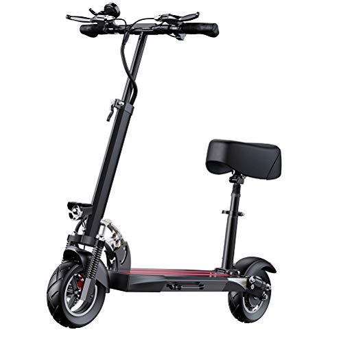 ZHJIUXING HO E-Scooter,Scooter eléctrico Plegable para Adultos y niños, Alcance 100 km, Potencia del Motor 500 W, Velocidad máxima 40 km/h Tirón de vacío de 10 Pulgadas, Black