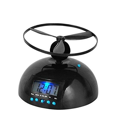 Tiangtech Novelty Digital LED Alarm Clock Gadget Run Away Flying/Rolling Helicopter Chopper Propeller Clock Creative gift