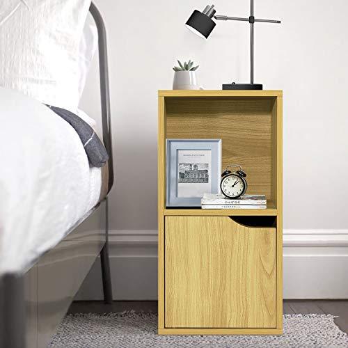 FurnitureR Estantería de exhibición independiente, mesita de noche de 2 cubos con una puerta, gabinete de almacenamiento para libros,...