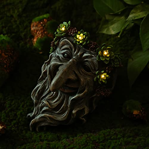 Old Man Tree Face Status - Resin Tree Face Hanging Planter with Solar LED Lights, Outdoor Tree Decorations for Patio Yard Lawn Porch, Ornament Gift