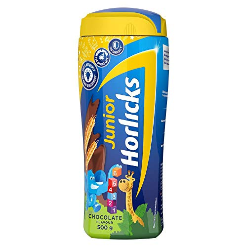 Junior Horlicks, Health & Nutrition Drink for Toddlers & Young Kids, For Brain Development, Weight Gain and Immunity, Chocolate Flavour, Jar, 500 g