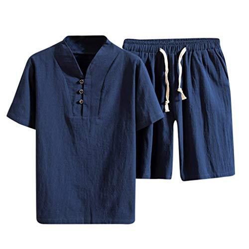 Yowablo Shorts Set Anzug Trainingsanzug Sommermode Herren Baumwolle und Leinen Kurzarm (4XL,3Blau)