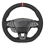 FLJKCT Cubierta de Volante de Coche Cosida a Mano, Apta para Ford Focus (RS   ST   ST-Line) 2015-2018 Kuga (ST-Line) Ecosport (ST-Line)