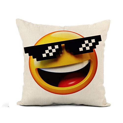 Throw Pillow Cover Yellow Computer Deal It Emoticon Gafas de Sol pixeladas Funda de Almohada de renderizado 3D Decoración para el hogar Funda de Almohada de Lino de algodón Cuadrada Funda de cojín