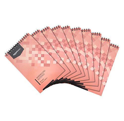 Amazon Basics - Bloc de notas de anillas, encuadernación superior, 160 hojas a rayas, 12,5 x 20 cm, 10 unidades